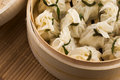 Chinese dumplings in bamboo steamers Royalty Free Stock Photo