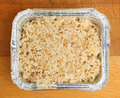 Chinese egg fried rice in foil tray takeaway container Royalty Free Stock Photography