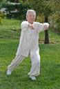 Chinese Elderly Woman Performing Taichi Outdoor Royalty Free Stock Images