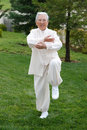 Chinese Elderly Woman Performing Taichi Outdoor Stock Images