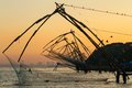 Chinese fishing net at sunrise in cochin fort kochi kerala india Stock Photography