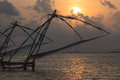 Chinese fishnets on sunset. Kerala, India Stock Image