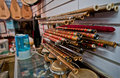 Chinese flutes wooden called dizi and bawu or ba wu in small music store in beijing china Stock Photography