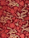 Chinese Flying Dragons Silk Embroidery Fabric Culture Symbol Floral Cloud Patterns Red Cloth Royalty Free Stock Photo