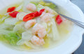 Chinese food cabbage with prawns and red peppers Stock Photos