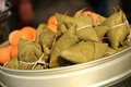 Chinese food closeup view of authentic zongzi Royalty Free Stock Photo