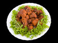 Chinese food. Fried pork ribs, clipping path. Royalty Free Stock Images