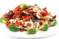 Chinese food fried vegetables with pepper in a white plate Royalty Free Stock Photography