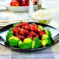 Chinese food general tso s chicken general chang s chicken is a sweet slightly spicy deep fried dish that is popularly served in Royalty Free Stock Photography