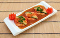Chinese food - Gourmet broiled king tiger prawns Stock Photo