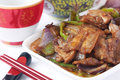 Chinese food specialty twice cooked pork Stock Photo