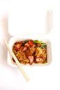 Chinese food take away wonton noodles packed takeaway in white styrofoam container wan ton or with sliced broiled pork meat and Stock Photography