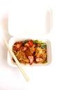 Chinese food take away, wonton noodles packed Royalty Free Stock Photo
