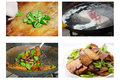 Chinese food —— twice cooked pork cooking method key points:pork first cook in the pot and then cut into pieces Royalty Free Stock Photos