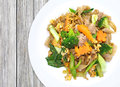 Chinese fried noodle with pork , egg Royalty Free Stock Photo