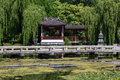 Chinese garden, chinese house at lake Royalty Free Stock Photo