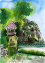 Chinese garden painting on paper Stock Images