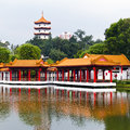 Chinese garden with storey pagoda jurong central park singapore Stock Photos
