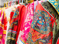 Chinese garments on display colorful Royalty Free Stock Photography