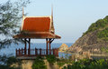 Chinese gazebo on a cliff with sea view Royalty Free Stock Photo