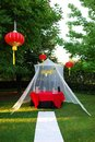 Chinese gazebo in the park white and red lantern Royalty Free Stock Image