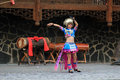 The chinese girl dancing in miao village or villages of thousands of miao house holds in xijiang kaili guizhou china Royalty Free Stock Photo