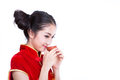 Chinese girl drink a tea Royalty Free Stock Photo