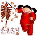 Chinese Girl Firecrackers Wishing Happiness an Royalty Free Stock Photos