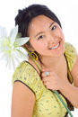 Chinese girl with flower Royalty Free Stock Photography