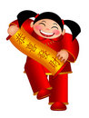 Chinese Girl Holding Scroll Wishing Happiness Fort Stock Images