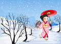 A chinese girl holding an umbrella walking outside with snow illustration of Royalty Free Stock Image