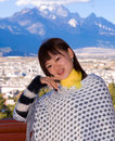 Chinese girl a lovely is smiling take on lijiang city of yunnan province of china Stock Image