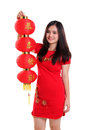 Chinese girl raise the red lantern isolated Royalty Free Stock Photo