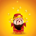 Chinese god of wealth falling gold bullions cai shen is the prosperity worshipped in the indigenous religion and taoism Royalty Free Stock Photography