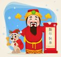 Chinese God of Wealth holding scroll with greetings and cute dog Royalty Free Stock Photo