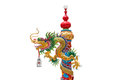 Chinese golden dragon wrapped around red pole chinese style bui building in white background man is the mascot of the people Stock Photography