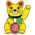 Chinese good fortune and luck cat in gold red and green symbolizing wealthy life and good fortune Royalty Free Stock Photo