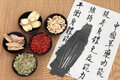 Chinese health care herbal medicine selection with acupuncture needles and mandarin calligraphy script on rice paper describing Stock Images