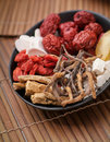 Chinese herbal. Different kind of herbal Stock Photography