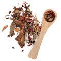 Chinese herbal medicine mixture wooden spoon over white backgorund Royalty Free Stock Photos