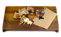 Chinese herbal medicine on wood bg Stock Images