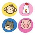 Chinese horoscope animal set Royalty Free Stock Photo