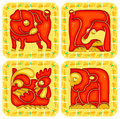 Chinese horoscope animal set signs monkey rooster dog and pig Stock Image