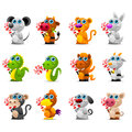 Chinese horoscope animal toys with sugar candy Royalty Free Stock Photo