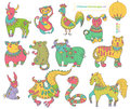 Chinese horoscope animals colorful collection Stock Images