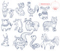 Chinese horoscope animals cutel collection Stock Image