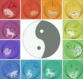 Chinese horoscope around yin yang Royalty Free Stock Photo