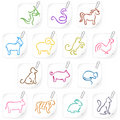 Chinese horoscope icons 1 Stock Images