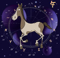 Chinese horoscope year of horse cartoon on dark blue a background with signs Royalty Free Stock Image