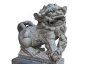 Chinese Imperial Lion Statue, Guardian Lion stone, Isolated on white background Royalty Free Stock Photo